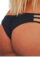 Solid Braid Ruched Bikini Panties