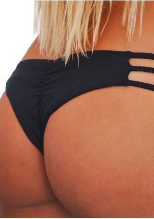 Solid Braid Ruched Bikini Panties Solid