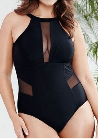 Solid Mesh Splicing Sexy Swimsuit