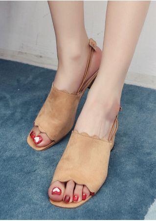 Solid Elastic Band Heeled Sandals