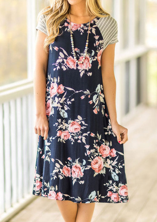 Floral Striped Splicing Casual Dress without Necklace - Navy Blue фото