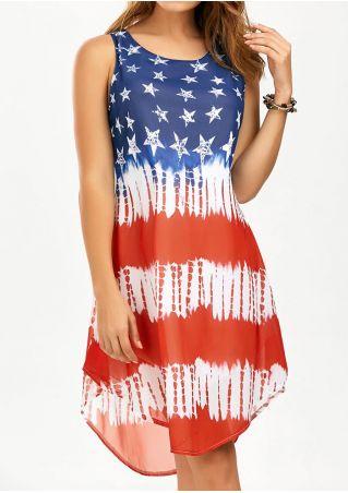 Star Sleeveless O-Neck Asymmetric Casual Dress