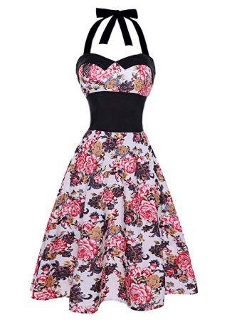 Floral Splicing Halter Casual Dress