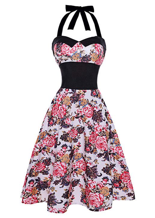 Rochie midi, elegantă, cu imprimeu floral, talie elastică, fără mâneci