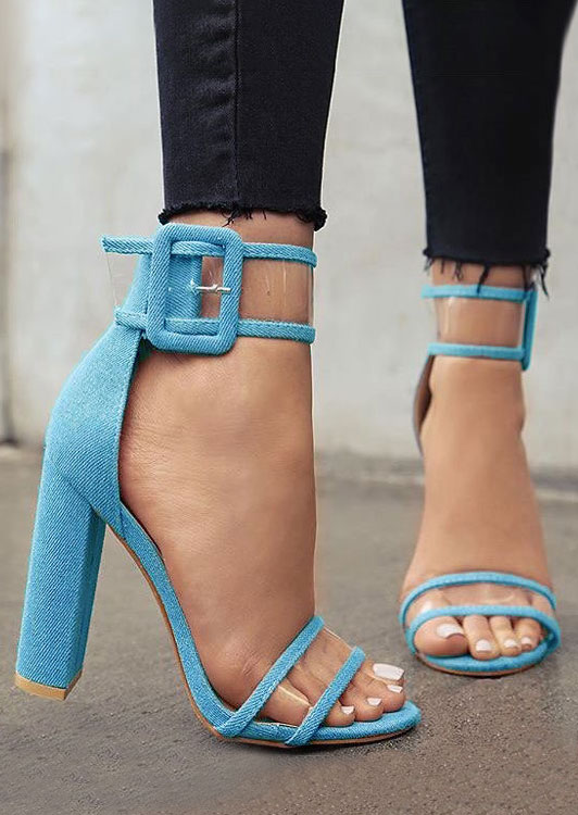 Image of Ankle Strap Buckle Heeled Sandals