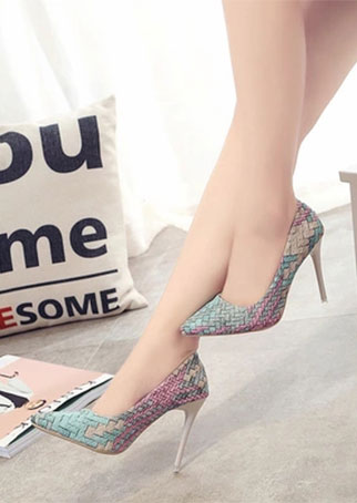 Image of Multicolor Pointed Toe Heels