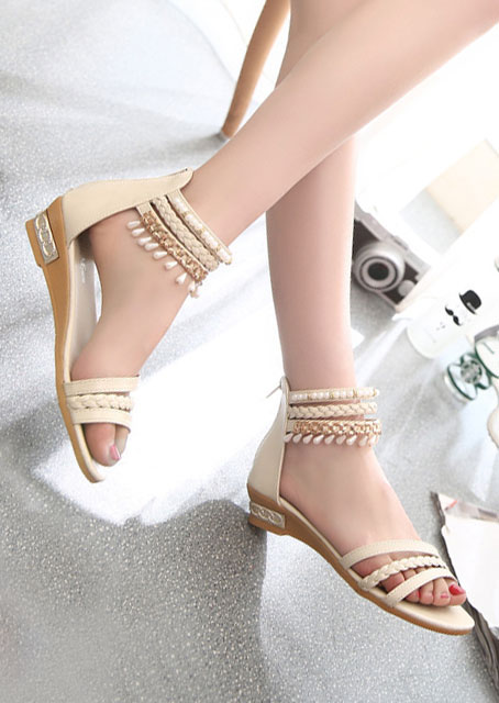 Image of Beading Braid Zipper Flat Sandals