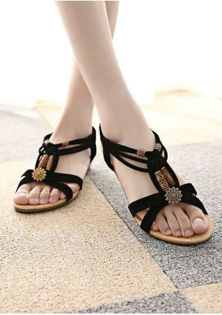 Beading Cross Elastic Band Sandals