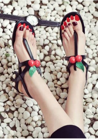 Cherry Buckle Strap Heeled Sandals Cherry
