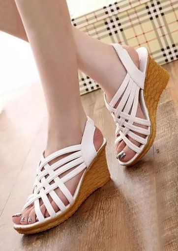 Image of Solid Elastic Band Cross Wedge Sandals