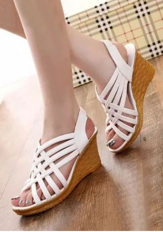 Solid Elastic Band Cross Wedge Sandals