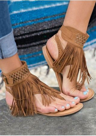 Tassel Imitated Crystal Flat Sandals