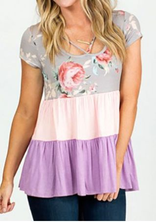 Floral Color Block Ruffled Blouse without Necklace