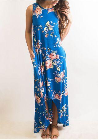 Floral Asymmetric O-Neck Sleeveless Maxi Dress