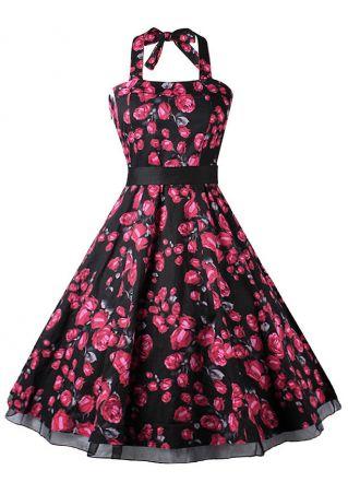 Floral Splicing Halter Mini Dress with Belt