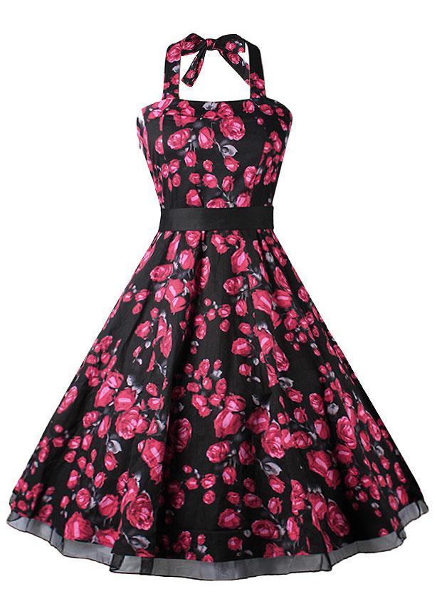 Rochie midi, elegantă, în cloș, cu imprimeu floral, curea talie și fără mâneci