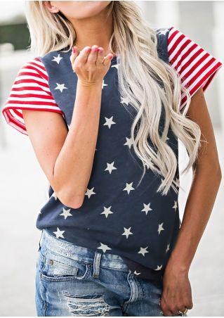 American Flag O-Neck Short Sleeve T-Shirt