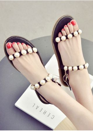 Beading Buckle Strap Flat Sandals