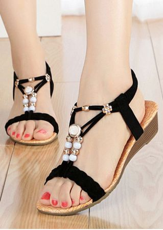 Summer Beading Elastic Band Sandals