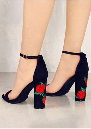 Embroidery Ankle Strap Heeled Sandals
