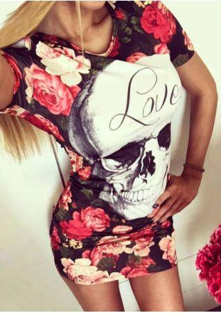 Love Floral Skull Cold Shoulder Bodycon Dress