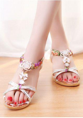 Imitated Crystal Elastic Band Flat Sandals