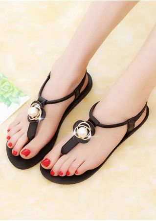 Solid Beading Elastic Band Flat Sandals
