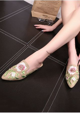 Embroidery Pointed Toe Slide Flats