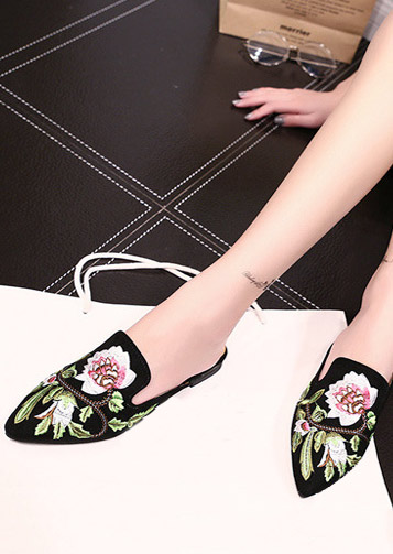 Image of Embroidery Pointed Toe Slide Flats