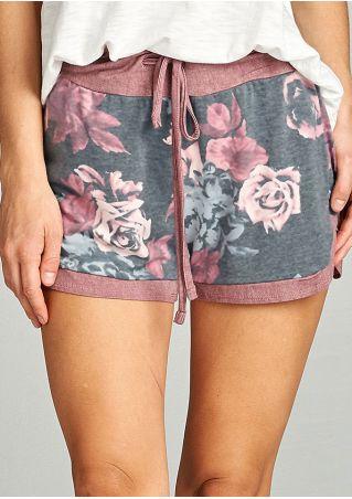 Floral Slit Drawstring Shorts