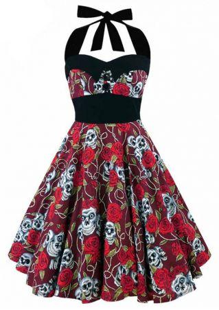 Skull Floral Button Halter Mini Dress