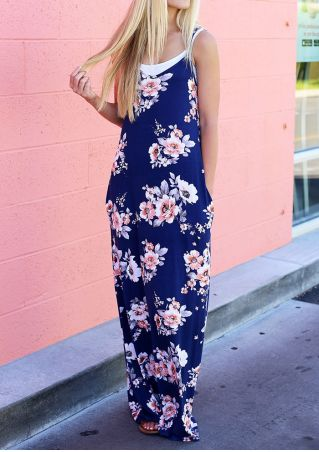 Floral Spaghetti Strap Pocket Maxi Dress without Necklace