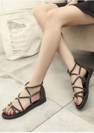 Cross-Strap Zipper Flat Sandals