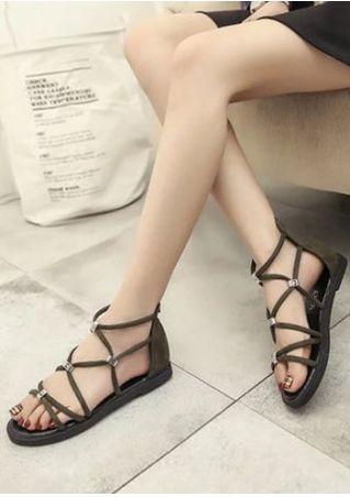 Cross-Strap Zipper Flat Sandals