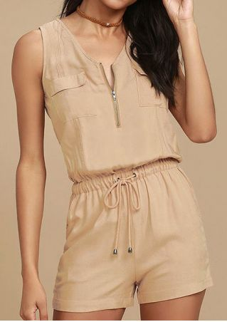 Solid Front Zipper Drawstring Romper without Necklace