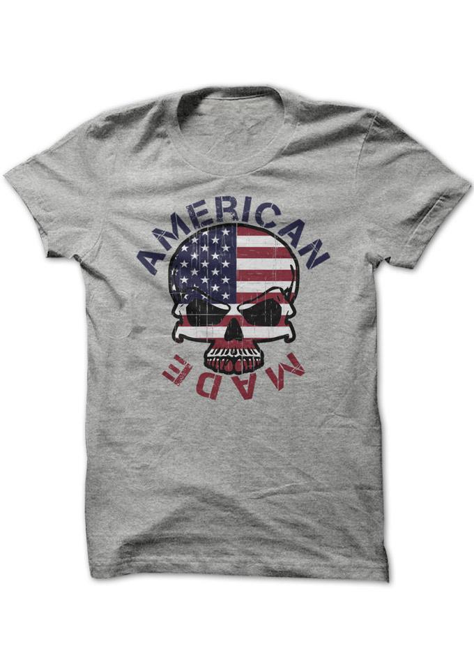 American Made Skull American Flag Printed T-Shirt 31715