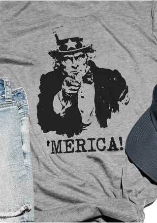 'Merica Lincoln Printed O-Neck T-Shirt