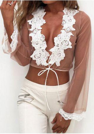 Mesh Lace Splicing Crop Top