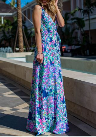 Floral V-Neck Maxi Dress with Belt