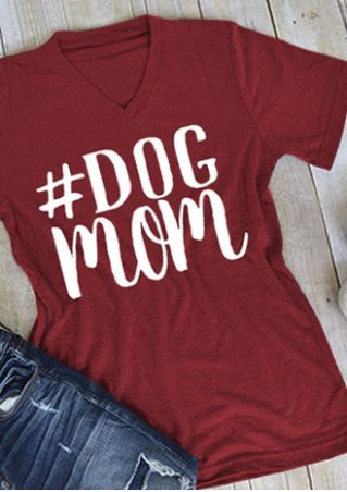 Dog Mom V-Neck Casaul T-Shirt