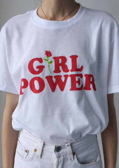Купить Floral Girl Power O-Neck T-Shirt Without Necklace