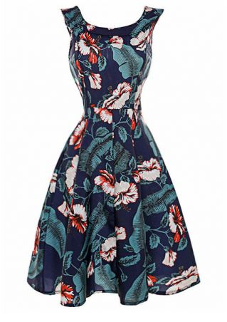 Floral Leaf Printed Sleeveless Casual Dress