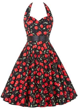 Cherry Printed Halter Bowknot Mini Dress with Belt