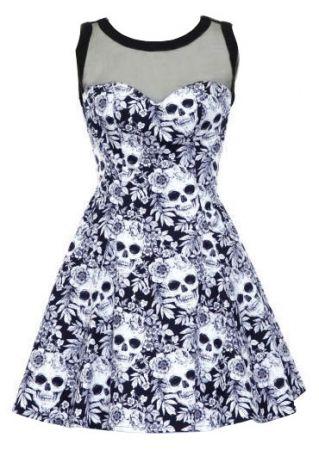 Gothic Floral Skull Mesh Splicing Mini Dress