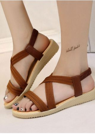 Solid Cross Elastic Band Flat Sandals