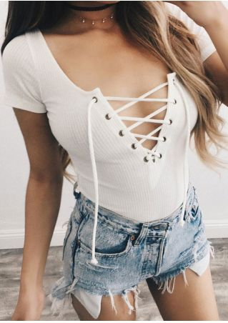 Solid Lace Up Deep V-Neck Blouse without Necklace