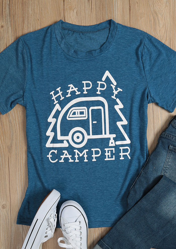 Happy Camper O Neck T Shirt Fairyseason