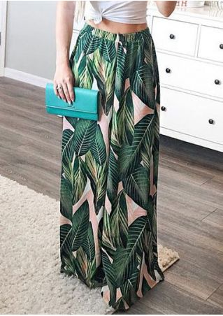 Leaf Printed Wide Leg Pants