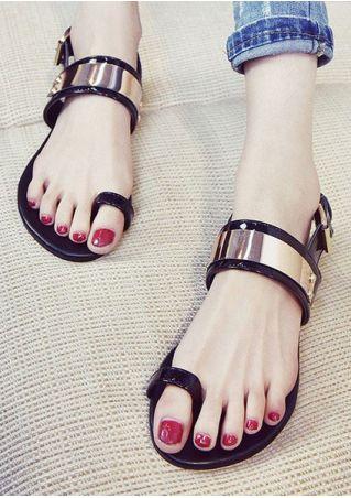 Summer Buckle Strap Flat Sandals