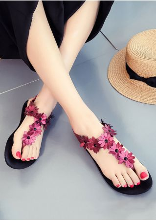 Summer Flower Elastic Band Flat Sandals